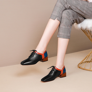 Image 3 - المرأة الشقق أحذية من الجلد الحقيقي أحذية رياضية امرأة البروغ خمر حذاء كاجوال مسطح الأربطة أكسفورد أحذية للنساء ربيع 2020