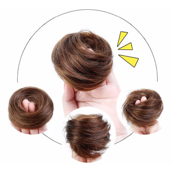 Brazylijski ludzki włos Remy przyrząd do koka z włosów elastyczny pączek włosy krótki Chignon elastyczna opaska do włosów przyrząd do koka z włosów włosy kok rozszerzenia czarny brązowy przyrząd do koka z włosów tanie i dobre opinie SalonChat Donut chignon Remy włosy CN (pochodzenie) Gumka Pure color Brazylijski włosy Ciemniejszy kolor tylko