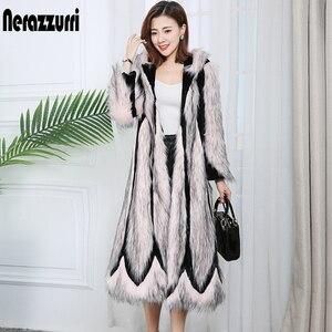 Image 3 - Nerazzurri pista di trasporto 2020 della rappezzatura del faux cappotto di pelliccia con cappuccio di colore rosa lungo inverno cappotti più il formato del blocchetto di colore di modo delle donne outwear 7xl