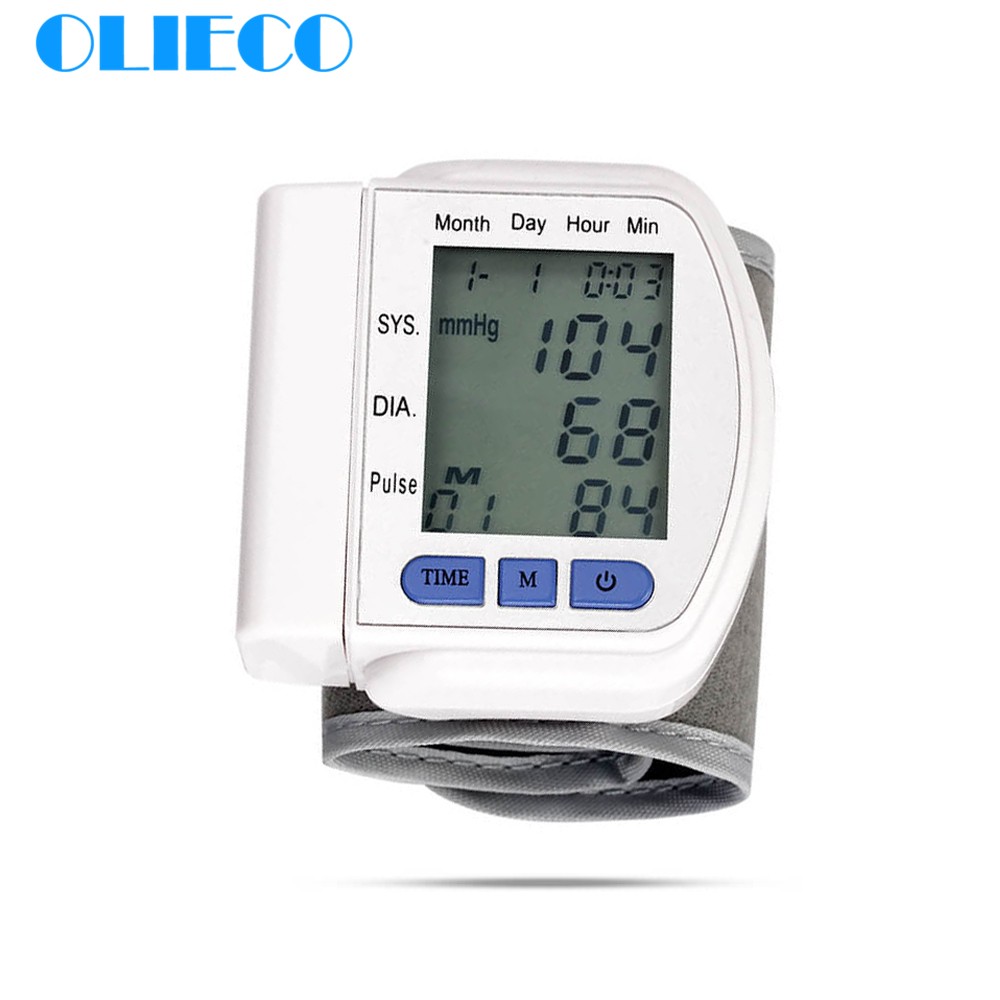 OLIECO Accurate Automatic Digital Wrist Blood Pressure Monitor LCD German Chip Pulse Rate Fitness Tonometer Sphygmomanometer CE