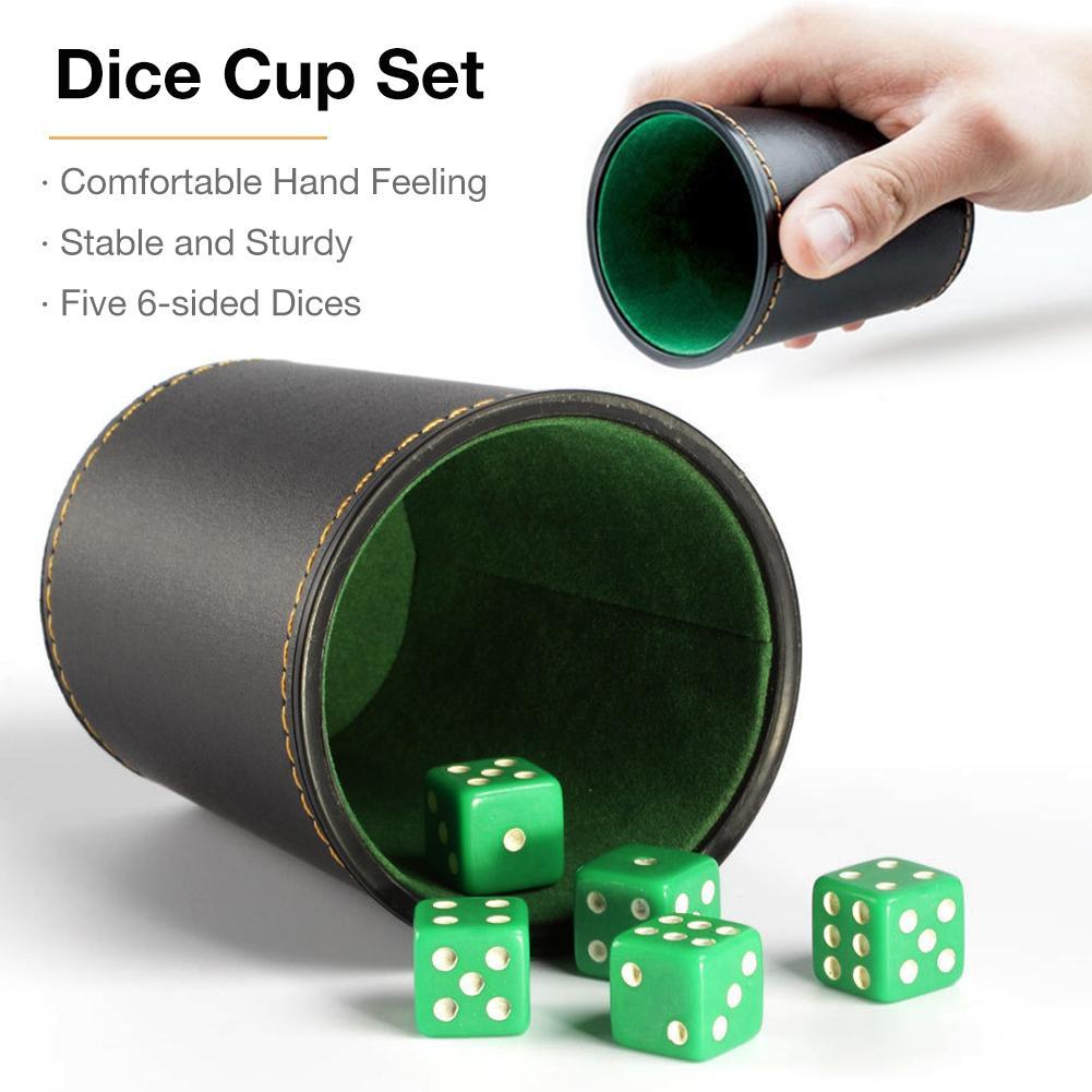 Copo de dados conjunto com 5 6-sided diques alta qualidade couro do plutônio estável resistente confortável mão sentindo dice cup conjunto para o jogo de mesa