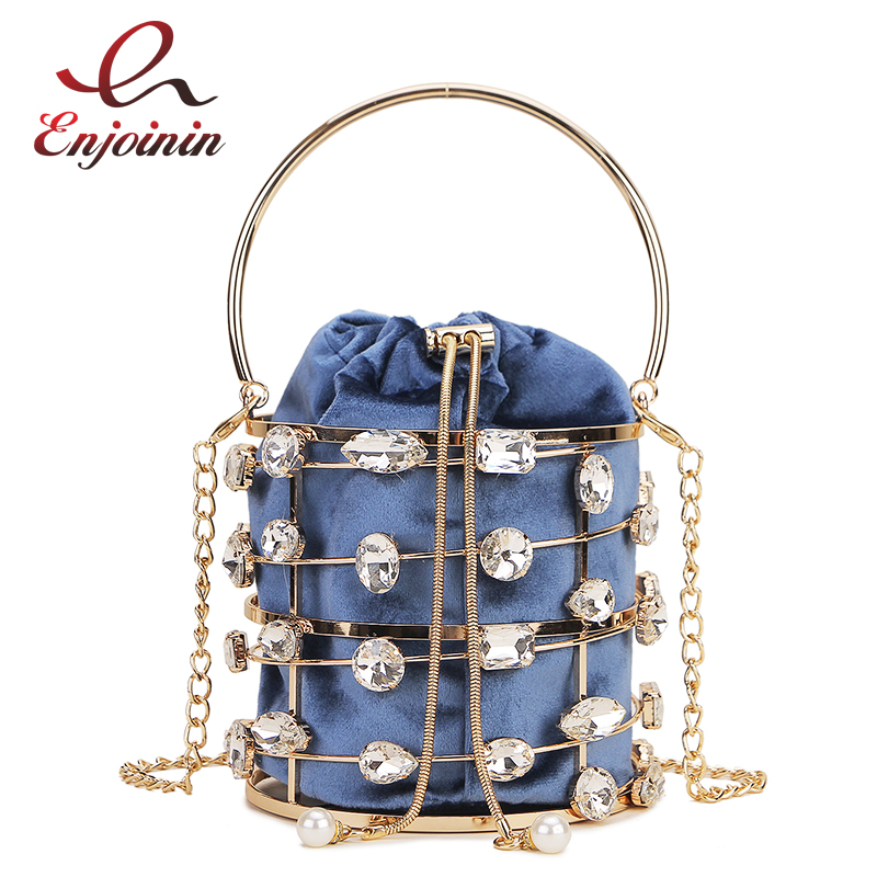New Silver Diamond Metal Bucket Luxury Women Party Purses And Handbags Shoulder Chain Bag Crossbody Bag Clutch Bag Ladies Totes