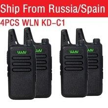 4 قطعة راديو محمول WLN KD C1 صغيرة Wiress اسلكية تخاطب UHF يده اتجاهين راديو الاتصالات جهاز الإرسال والاستقبال لاسلكي