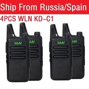Image 1 - 4PCS Portable Radio WLN KD C1 Mini Wiress Walkie talkie UHF Handheld Two Way Radio Communicator Transceiver Walkie talkie рация