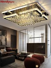 Nowoczesne kryształowe lampy sufitowe salon luksusowe srebrne lampy sufitowe sypialnia lampy sufitowe led jadalnia kryształowe oprawy kuchenne tanie tanio Nevsky Metrów 15-30square Foyer Bathroom Bed Room Dining Room 220V Klin STAINLESS STEEL iron Pilot zdalnego sterowania