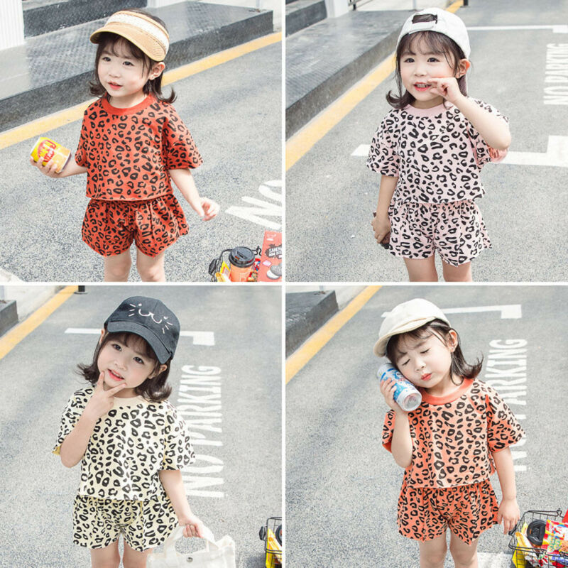 Toddler Kids Baby Girl Clothes Short Sleeve T-shirt Tops + Leopard Shorts Pants 2PCS Outfits Summer Baby Clothes Set 6M-5T