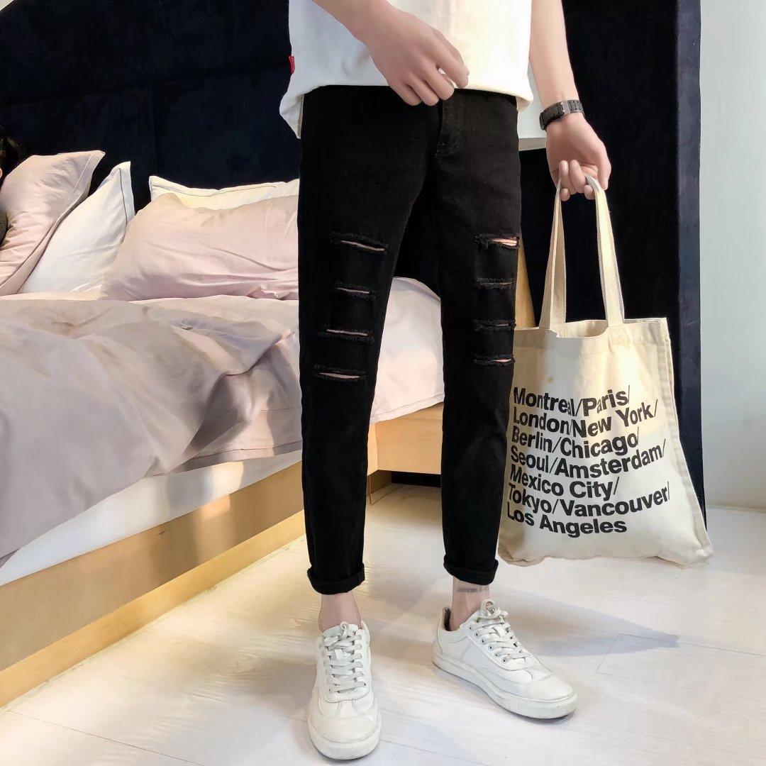 With Holes Jeans Men's, Black Skinny Pants Men's Slim Women's Students Korean-style Versatile Capri Ripped Jeans