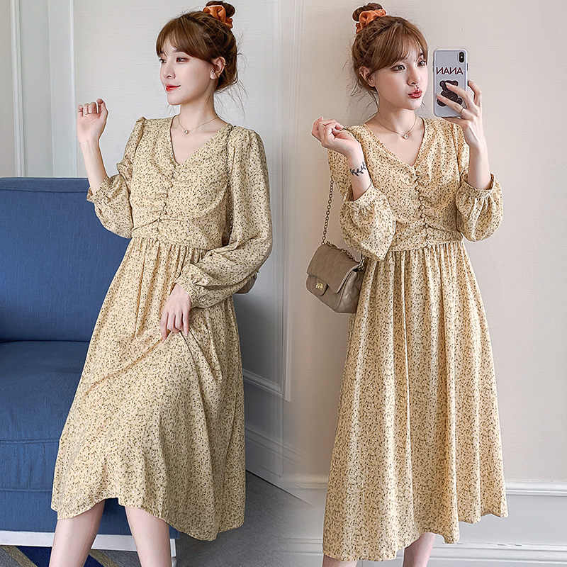 913 Maternity Clothes Nursing Spring Autumn Chiffon Long Sleeves Loose Stylish Floral Dress For Pregnant Women Mom Dress Dresses Aliexpress
