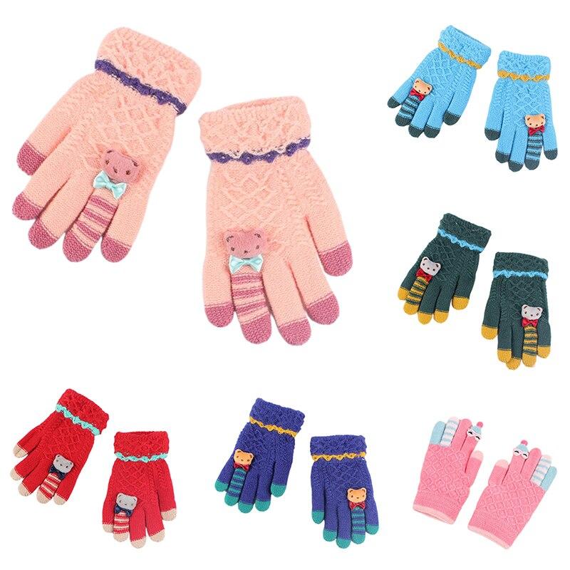 Winter Kids Gloves Warm Knitted Gloves Full Finger Thick Mittens Cartoon Gloves