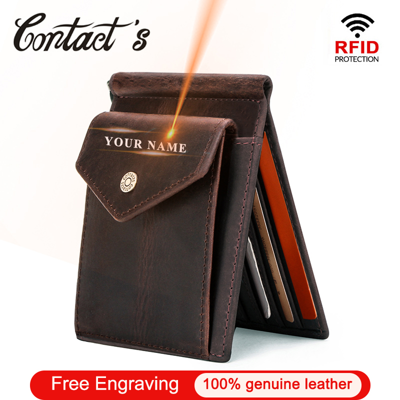 Contact's Free Engraving Genuine Leather Card Wallet Slim Money Clip Brand Money Case With Coin Pocket Men Bifold Wallets RFID