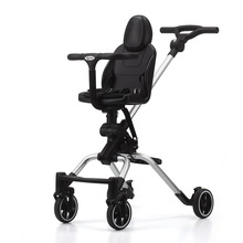 Baby Carriage Lightweight Bidirectional Foldable Stroller Four Wheels Shock Absorption Strolling Baby High Dining Chair