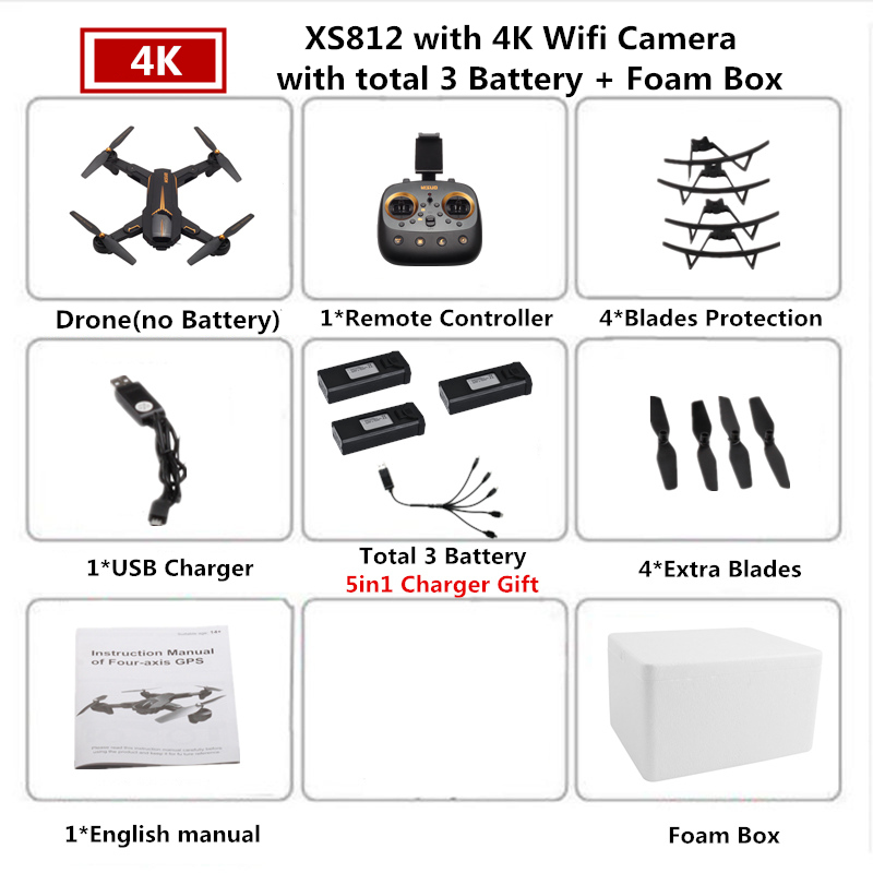 VISUO XS812 RC GPS Drone 4K HD Camera 5G WIFI Altitude Hold Quadcopter with Camera Helicopter VS SJRC Z5 F11 SG906 Dron
