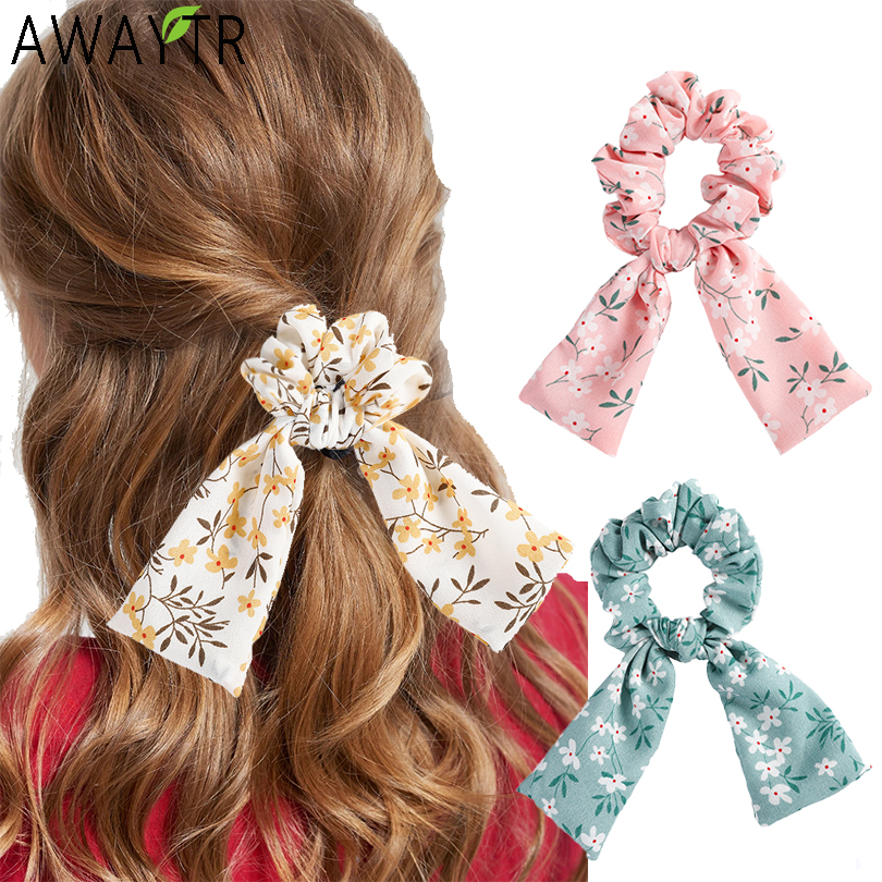 AWAYTR Ladies Retr Printing Ribbon Elastic Hair Band Ethnic Style Hair Band Elastic Band Rubber Band Fashion Hair Accessories