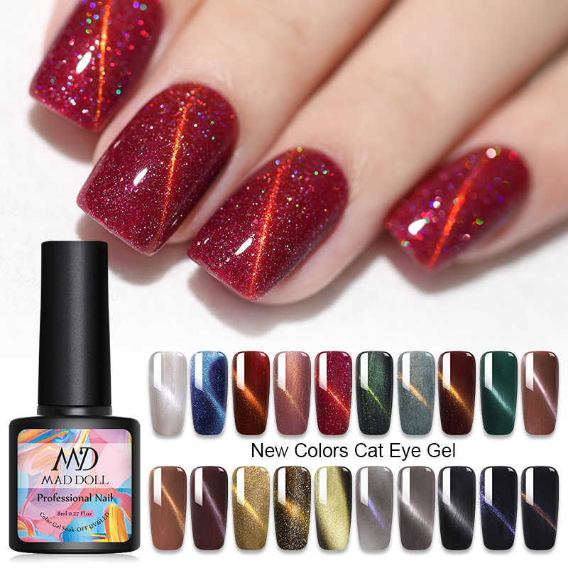 Gila Boneka Cat Eye Gel Polish 3D Magnetic Gel Laser Glitter Gel Varnish Rendam Off UV LED Pernis Kuku Seni pernis