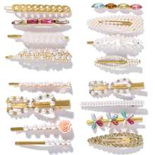 Best lady Trendy Hair Pins Sets For Women Wedding Korean Simulated Pearls Girls Party  Bohemian Headwear Gifts Accessories