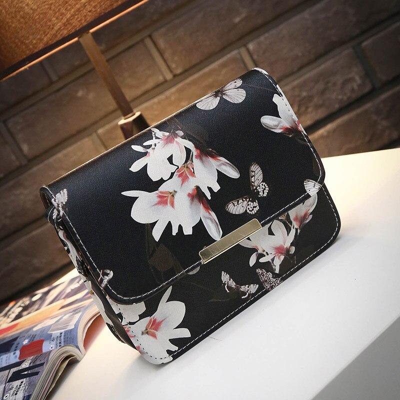 Women Floral Leather Shoulder Bag Satchel Handbag Retro Messenger Bag Famous Designer Clutch Shoulder Bags Bolsa Bag Black White