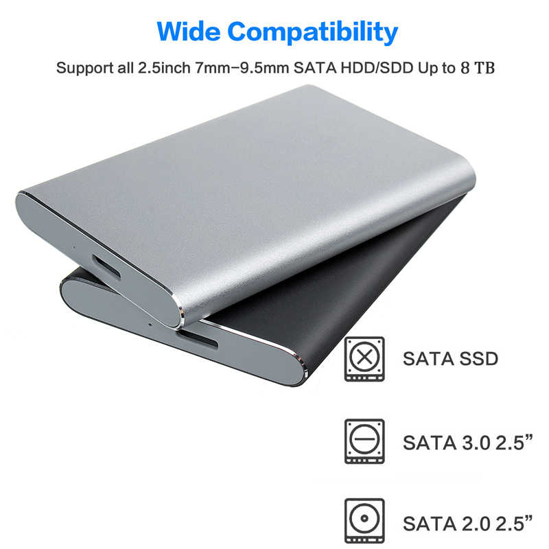 2.5 Cm HDD SSD Case SATA Ke USB 3.0 3.1 Adaptor 6 Gbps Kotak Hard Drive Enclosure Support 8TB HDD Disk untuk Windows untuk IOS