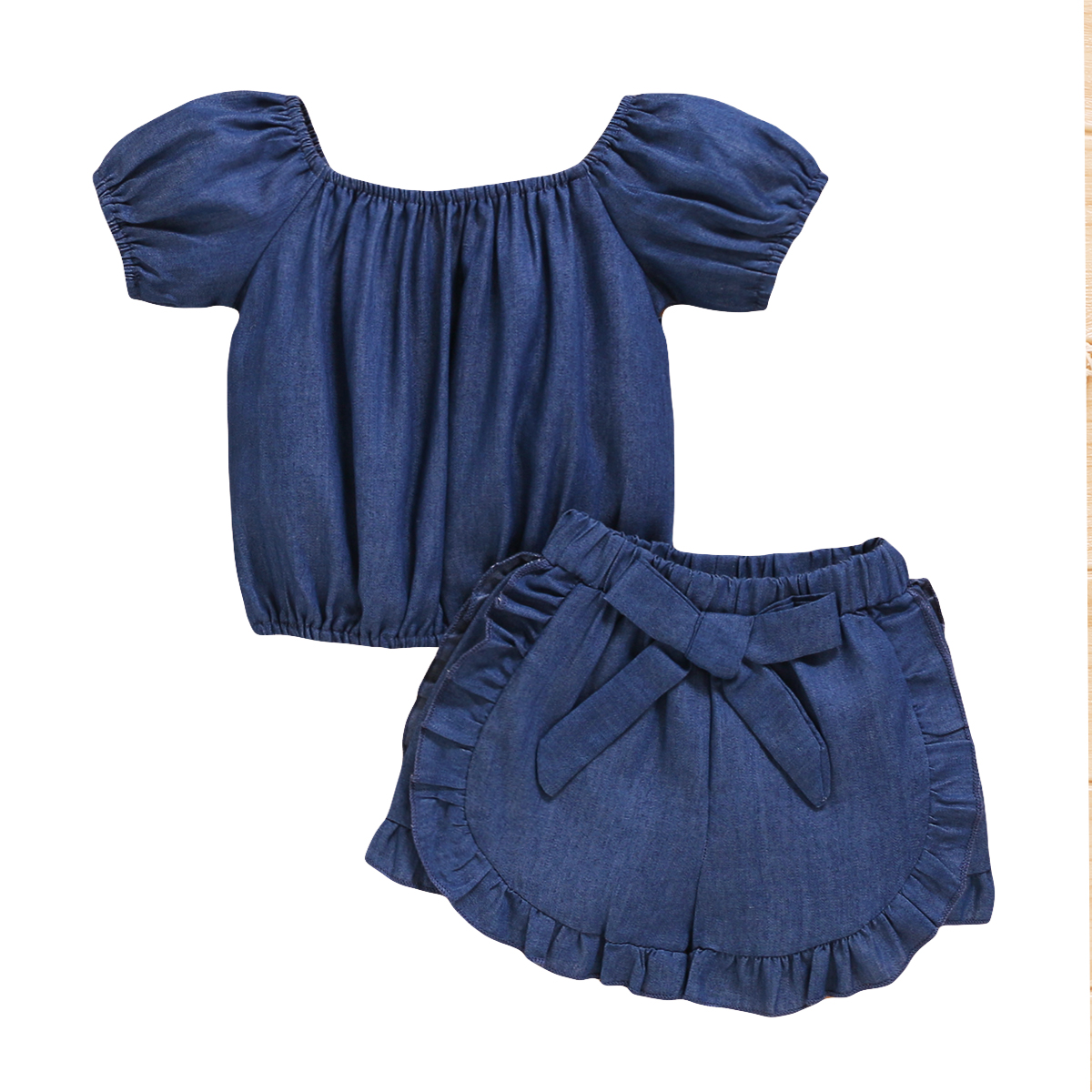 2020 Baby Summer Clothes Sets Toddler Kids Baby Girls Solid Tops Shirts+Shorts Pants Outfits Clothes Blue Pudcoco