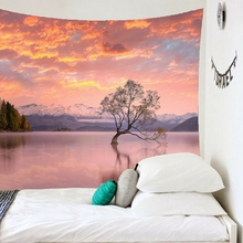 Magic Sunset Clouds Lake Woods Primitive Forest Treetop Printed Large Wall Tapestry Wall Hanging hanging mountains boat lake wall tapestry