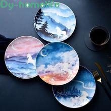 8 дюймовая круглая керамическая тарелка ins скандинавский единорог