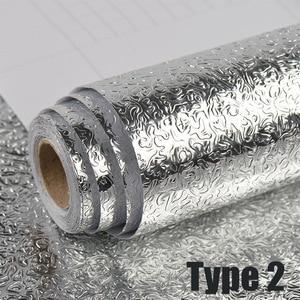 Image 3 - 40x100cm szafka kuchenna naklejka ścienna anty olejowa wodoodporna aluminiowa naklejka foliowa ochrona mebli naklejki ścienne z PVC