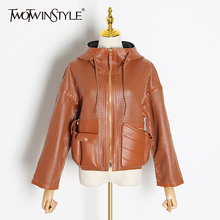 Jackets TWOTWINSTYLE Faux-Leather Clothing Coats Hooded Long-Sleeve Female Hollow-Out
