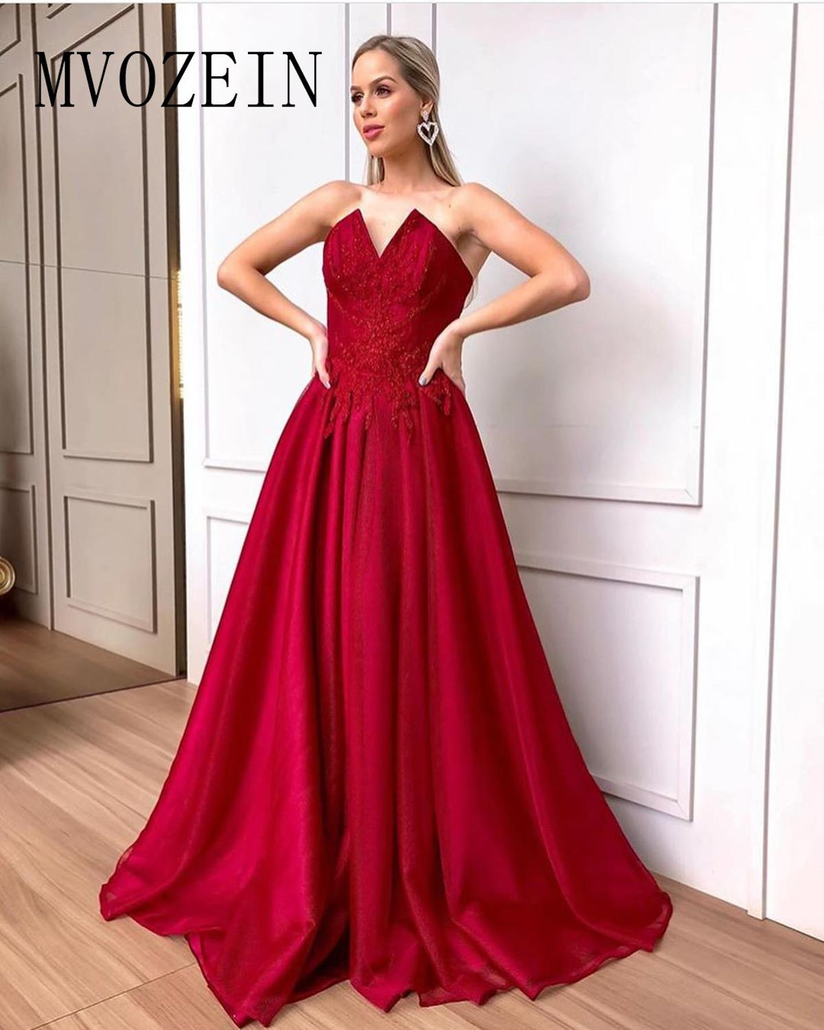 Dark Red Evening Dress Satin A-Line Lace Appliques Special Formal Gowns Evening Dresses Long Abendkleider