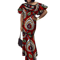 2020 summer Bazin Riche African Dresses for Woman Wax Print Splice short Sleeve Mermaid Dresses Dashiki African Clothes WY3524
