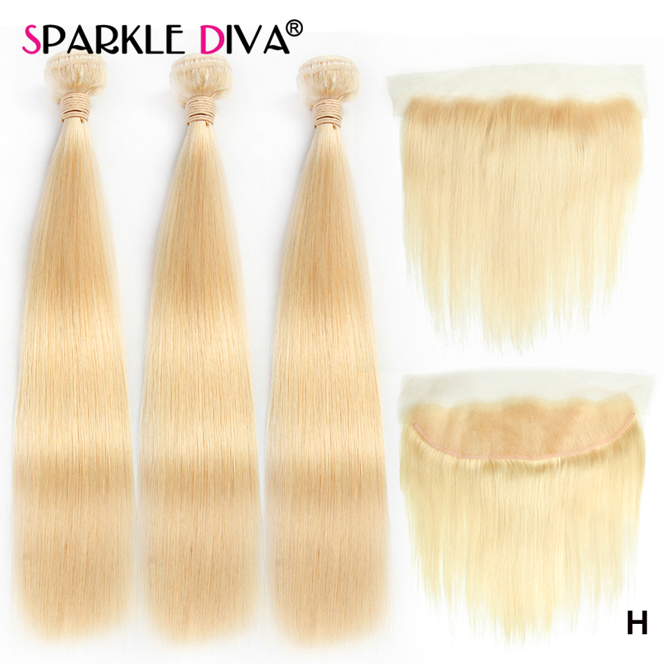 613 Blonde Bundles With Frontal Brazilian Straight Blonde Human Hair Sparkle Diva Remy Hair Weave 3 Bundles With Flontal Closure