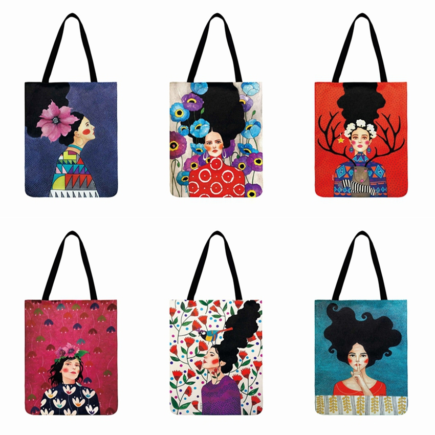 Ladies Shoulder Bag Painting Art Gril Printed Tote Bags For Women Casual Beach Bag Linen Fabric Reusable Shopping Bag 40*42cm
