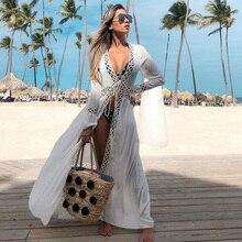 Вязаное крючком белое пляжное платье, туника, длинное парео, бикини, накидка, купальный халат, пляжная одежда