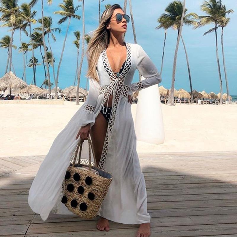 2021 Crochet White Knitted Beach Cover up dress Tunic Long Pareos Bikinis Cover ups Swim Cover up Robe Plage Beachwear