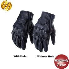 Ретро перфорированные кожаные мотоциклетные перчатки сенсорный экран полный палец черные защитные шестерни перчатки для мотокросса