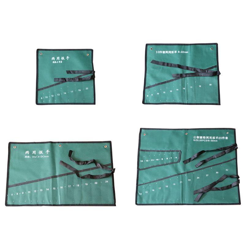 Offset Ring Spanner Kit Case Tool Bag Spanner Wrench Roll Up Storage Bag