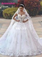 Vestido De Noiva Princesa Luxo Backless Sweetheart Kant Wedding Dress See Through Royal Staart Luxe Bridal Dress Robe De Mariee