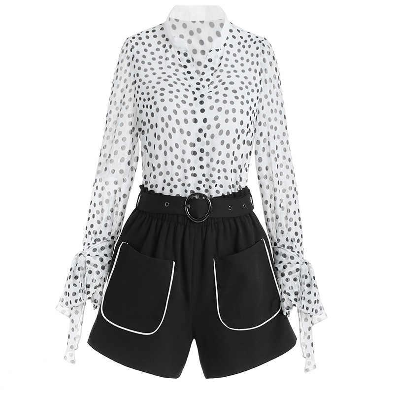 Womens conjuntos de duas peças chiffon blusa topos e shorts traje combinando conjuntos roupas verão 2 peça conjunto lwl1708