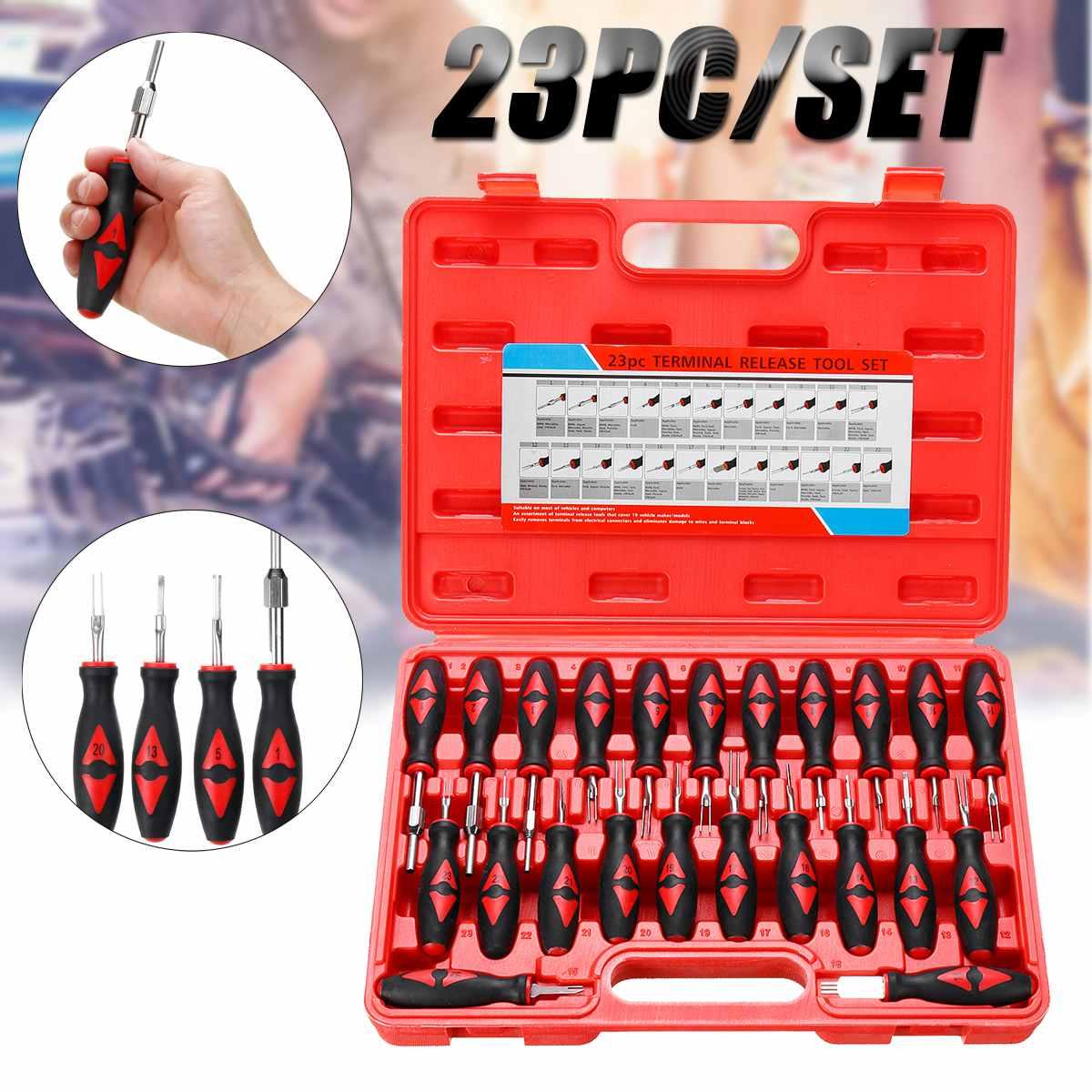23PCS Universal Automotive Carro Kit Ferramenta de Remoção Removedor de Lançamento Terminal de Fiação Elétrica Crimp Connector Pin Extrator Kit
