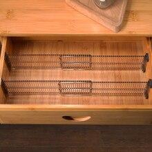 2pcs/set Durable Drawer Cabinet Storage Partition Divider Adjustable Space Separation