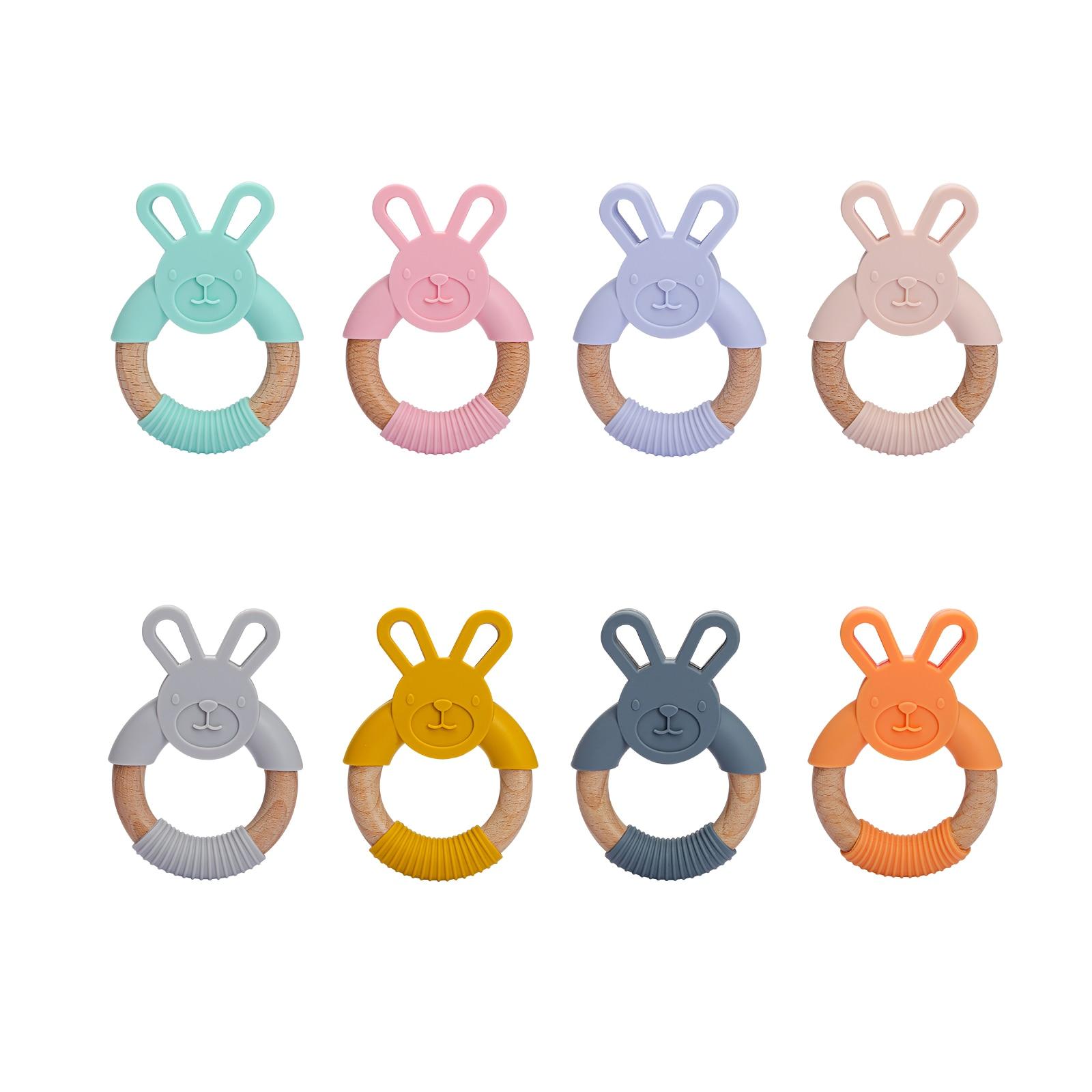 1 Pcs Baby Silicone Teether Cartoon Rabbit Teething Toy Beech Wood Ring Infant Nursing Toys Food Grade BPA Free Baby Teethers
