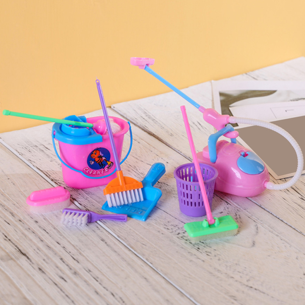 9 pièces/ensemble fille maison poupées meubles Kit de nettoyage ensemble ameublement drôle aspirateur vadrouille balai outils semblant jouer jouets