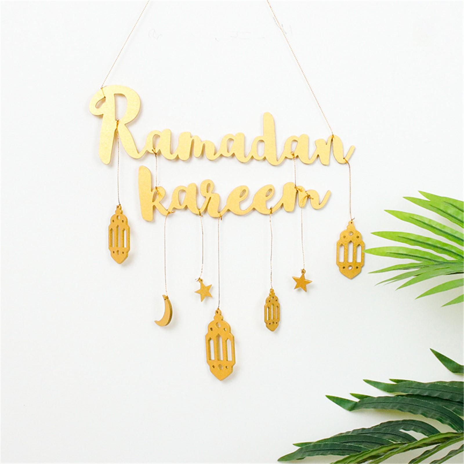 Schnelle Lieferung Ramadan Kareem Auspicious Brief Wand Dekoration Sterne Mond Diy Holz Ornament Zubehör Eid Mubarak Decor