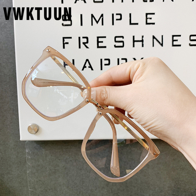 VWKTUUN Glasses Frame Square Eye Glasses Frames For Women Men Oversized Myopia Glasses Frames Students Rivet FrameFake Glasses