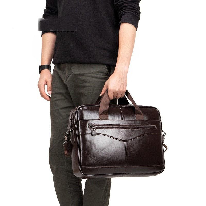 Briefcase Men's Leather Business Bag Male's Briefcase Casual Mens Handbag First Layer Leather Shoulder Slung Computer Phone Bag