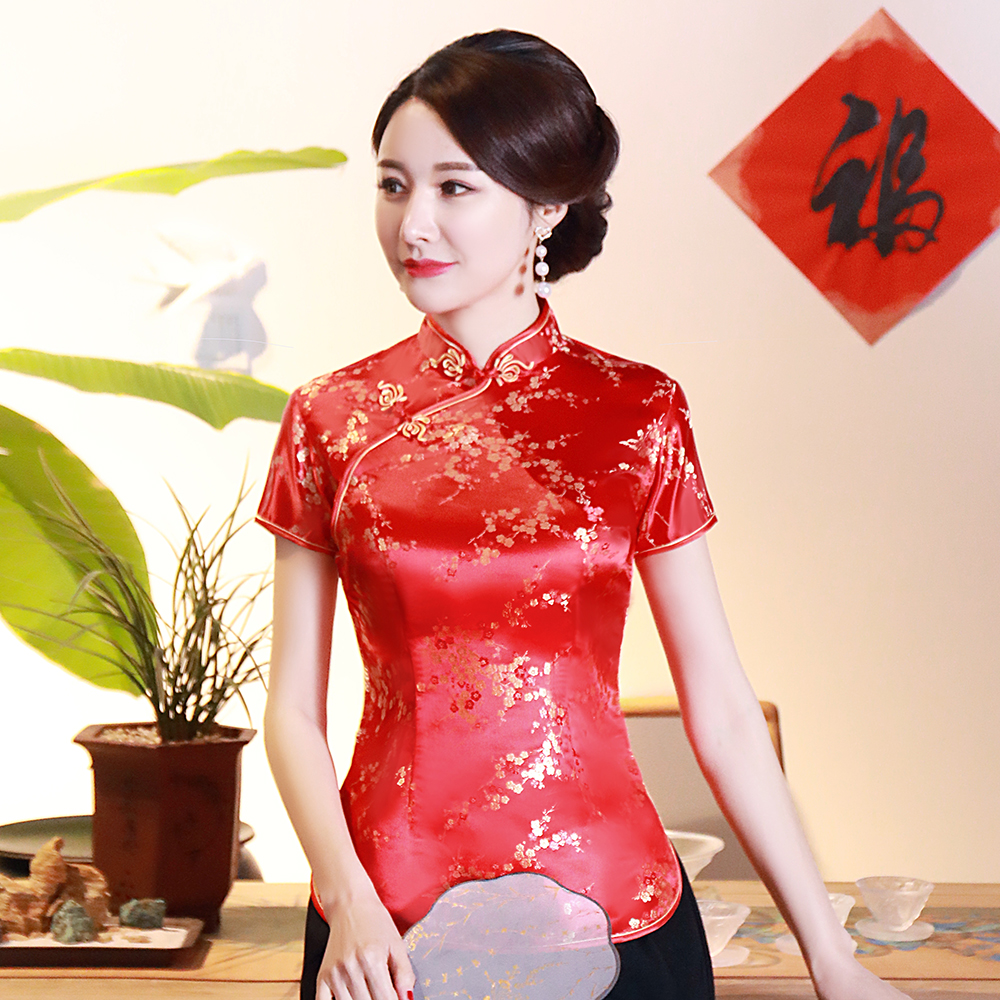Flower Short Sleeve Qipao-tops Satin Women Tang Clothing Vintage Button Classic Blouse Summer New Chinese Traditionl Shirt image