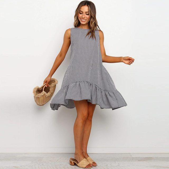 Купить женское пляжное платье в стиле бохо свободный сарафан клетку картинки