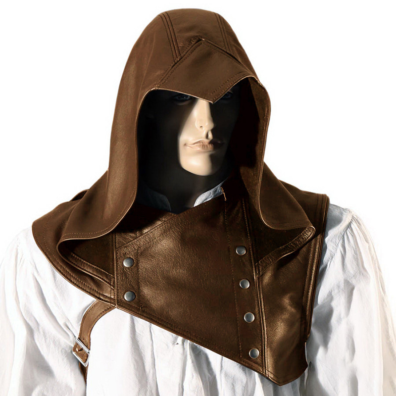 Men Medieval Vintage Leather Cowl Hat Hooded Stage Performance Assassin Cosplay Free Size Cowl Solid Color