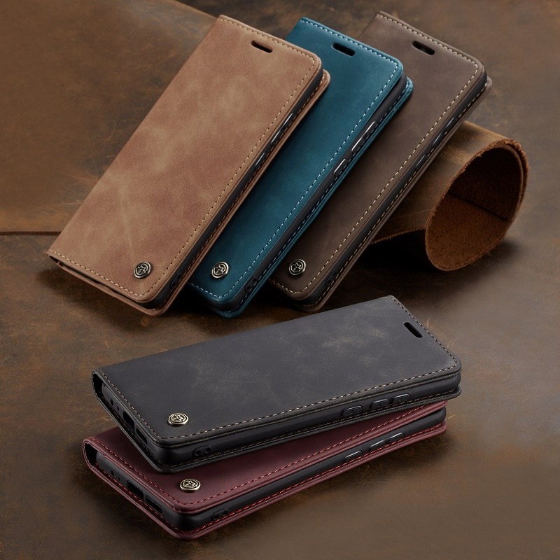 Business Magnetic Retro Frosted <font><b>Flip</b></font> Leather Cover Phone <font><b>Cases</b></font> For <font><b>Samsung</b></font> Galaxy S20 Note10 M21 A30S A51 A71 A91 A10 S9 S8Plus image
