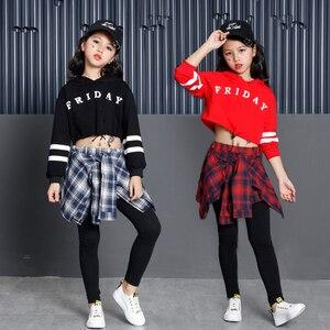 Image 5 - 子供のスポーツスーツ綿の服韓国のファッションヒップホップストリート十代の少女パーカートレーナー + チェック柄スカートパンツ