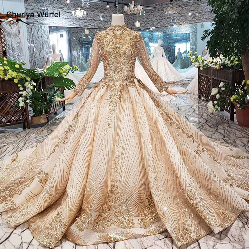 LS20470 Luxury Muslim Wedding Dress High-neck Shiny Sequins Lacing Up Back Handmade Appliques Bridal Dress Wedding Gown Golden