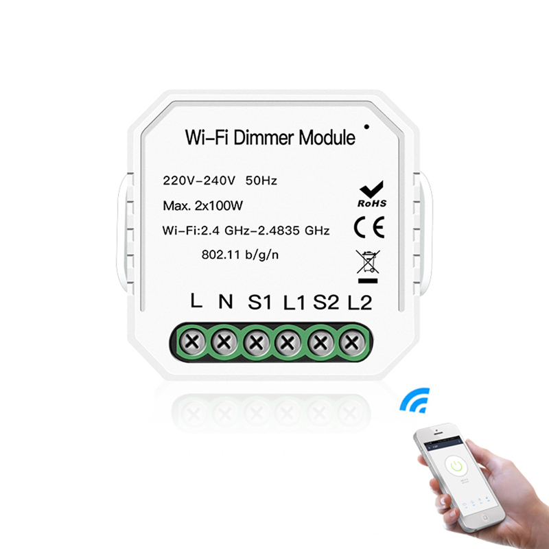 MoesHouse DIY WiFi Smart 2 Way 2 Gang Light LED Dimmer Module Smart Switch Smart Life APP Remote Control Work Alexa Google Home